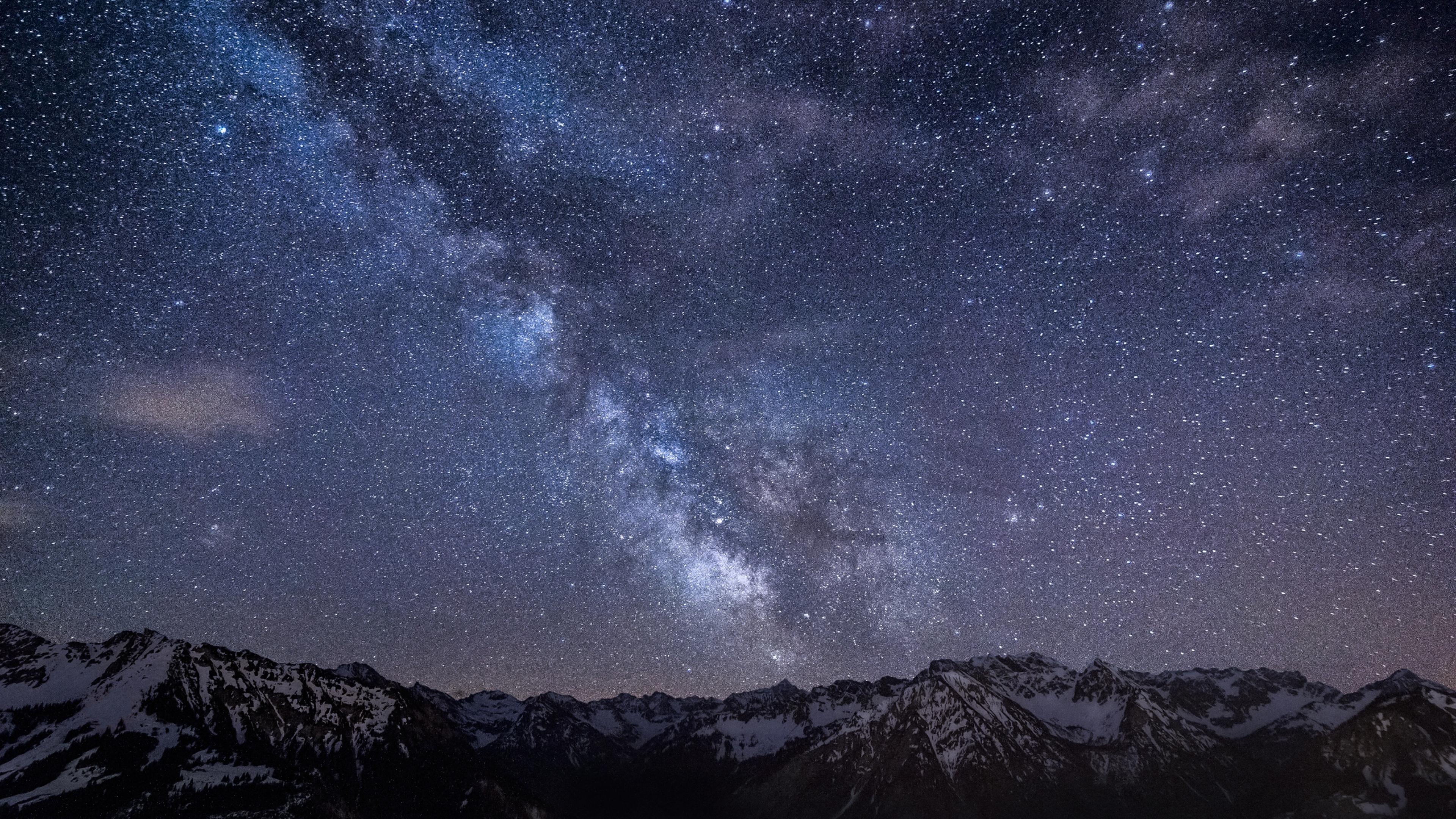 Milky way Stars Mountains Night Germany Bavaria Sky Wallpaper 3840x2160