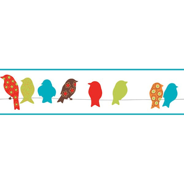 Red Bird On A Wire Border   Wall Sticker Outlet 600x600