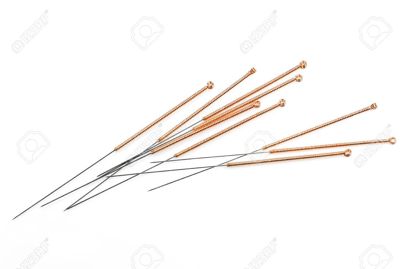 Acupuncture Needles Isolated On White Background Stock Photo 1300x866