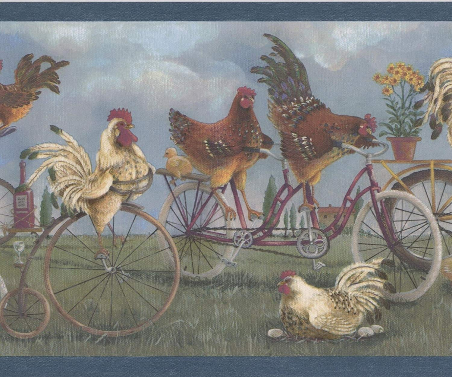 White Roosters Brown Hens on Bikes Vintage Wallpaper Border Retro 1500x1250