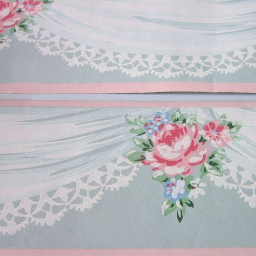 Pkgs Vintage WALLPAPER Border LACE Bouquet TRIMZ Pink ROSES Lac 500x500