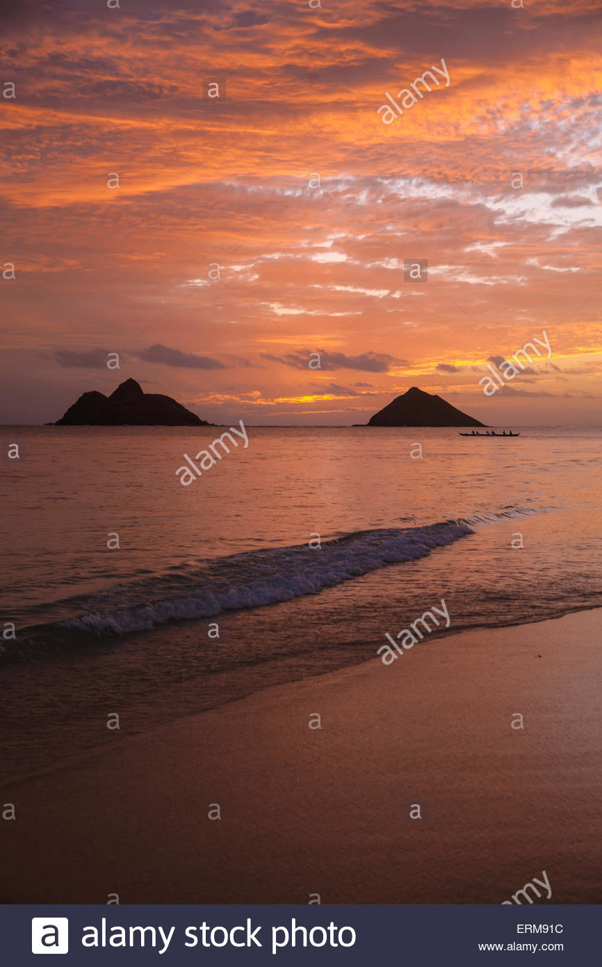 Sunset at Lanikai Beach with Mokuluas islands in the background 866x1390