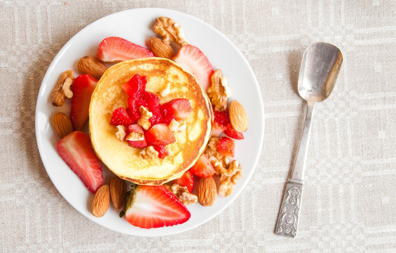 Wallpaper strawberry nuts pancakes pancakes images for desktop 1332x850