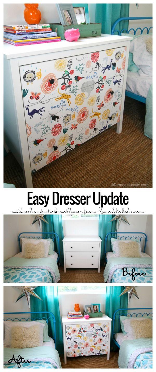15 minute Ikea Dresser Hack Wallpaper covered dresser 600x1424