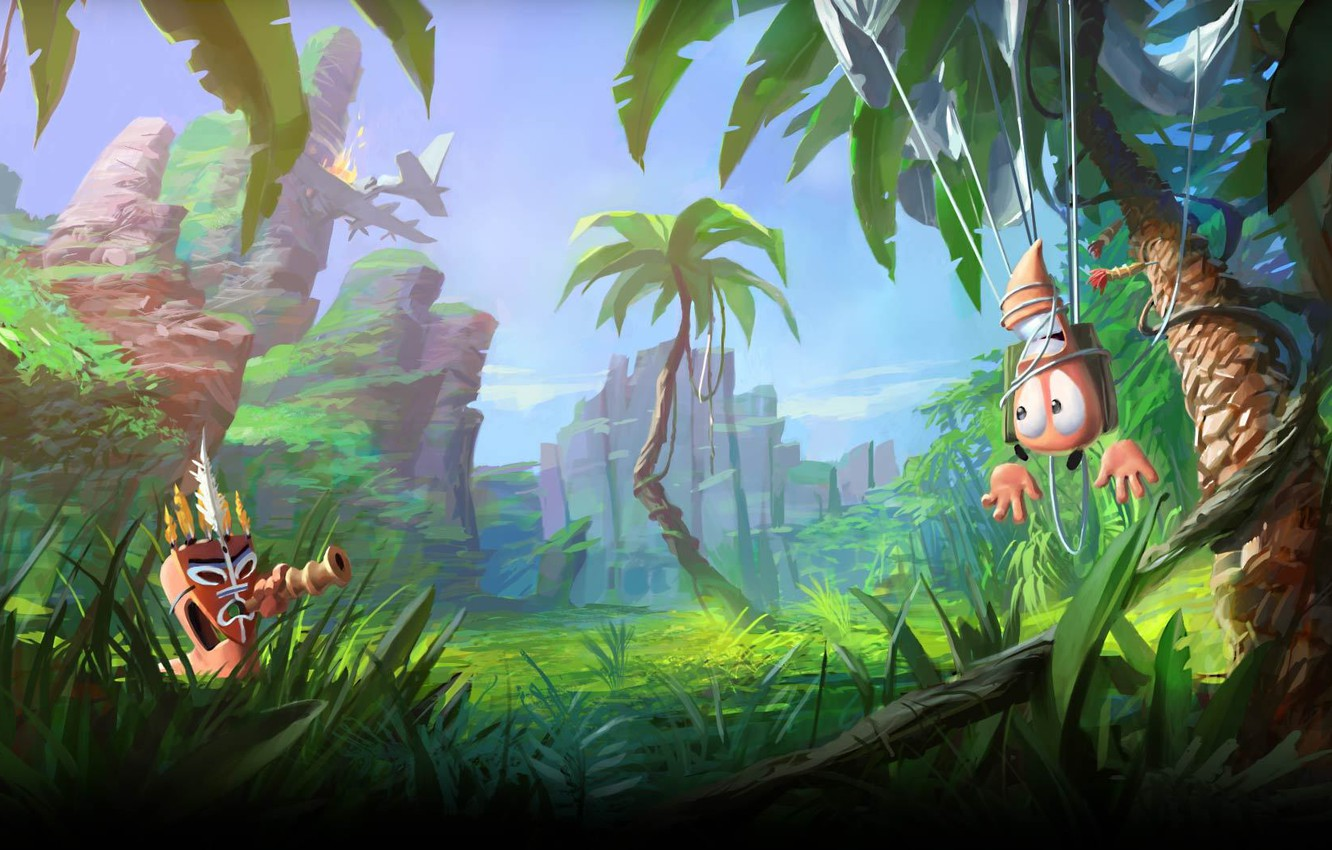 Wallpaper grass palm trees worms worms images for desktop 1332x850