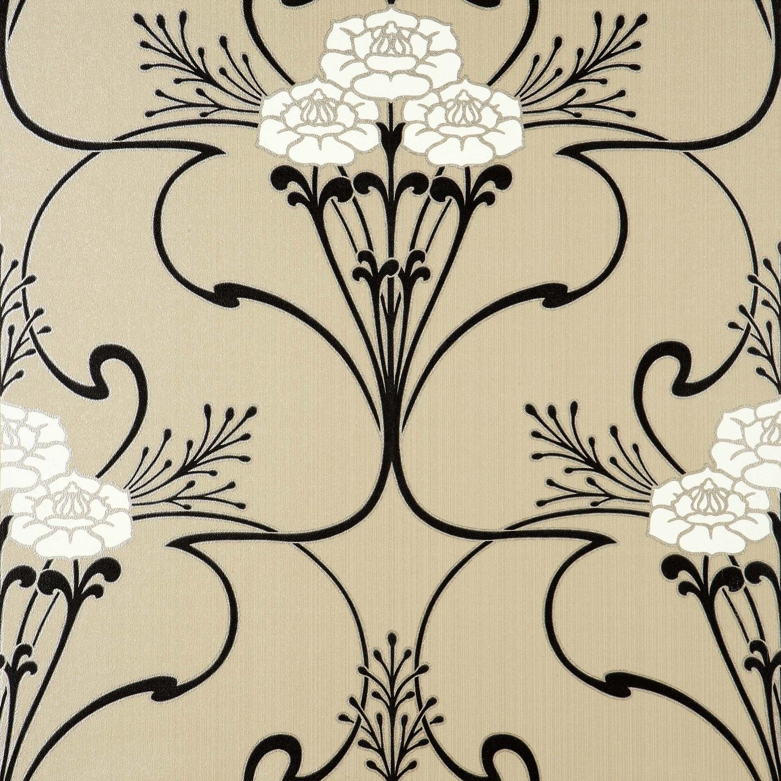 Flower Vine Art Deco style wallpaper in Beige White Black Gold 1600x1599