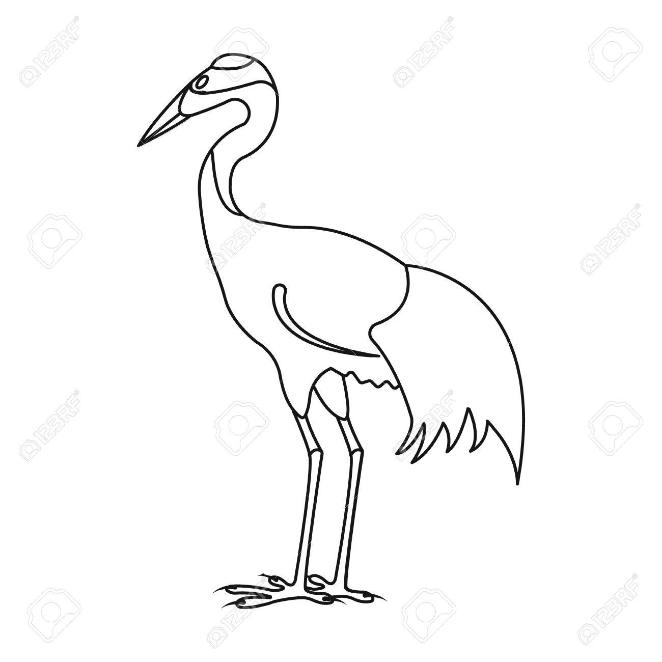 Red crowned Crane Icon In Outline Style Isolated On White 1300x1300