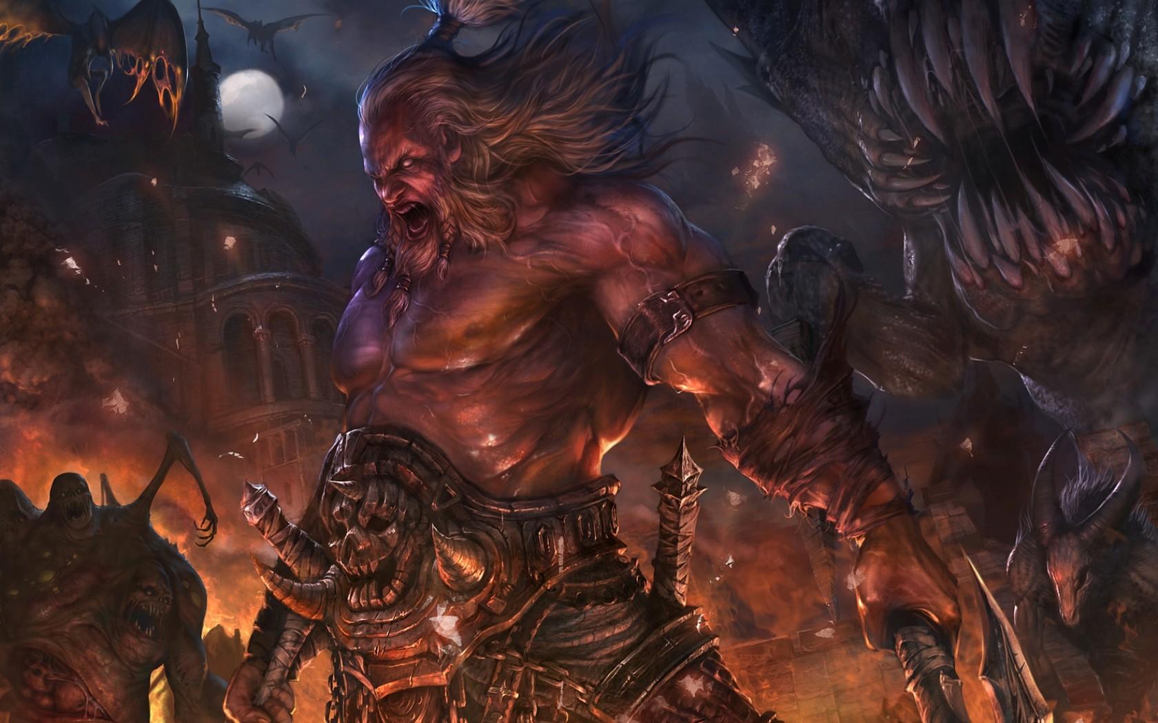 Diablo Drawing dark fantasy warrior warriors wallpaper background 1680x1050