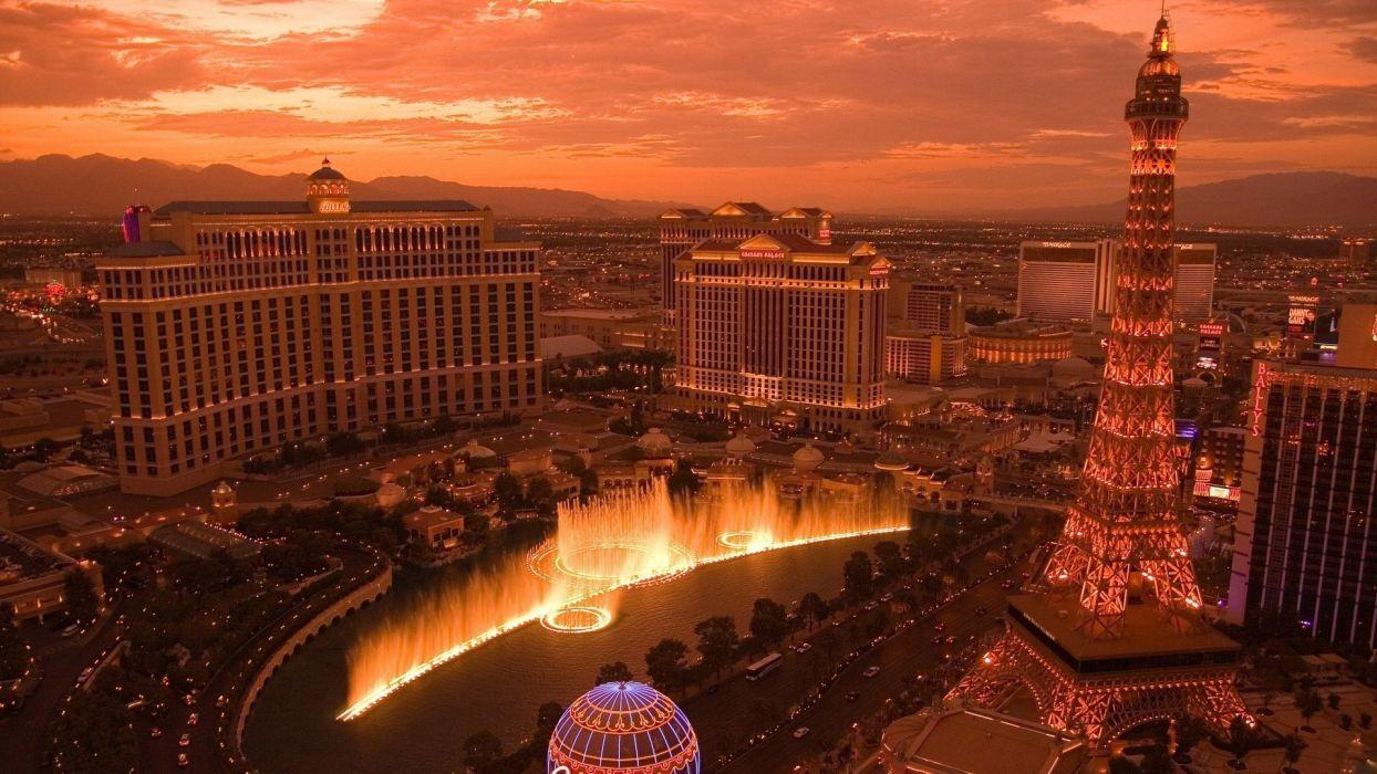 Cityscapes Las Vegas bellagio Casino Paris Las Vegas Caesars 1244x700