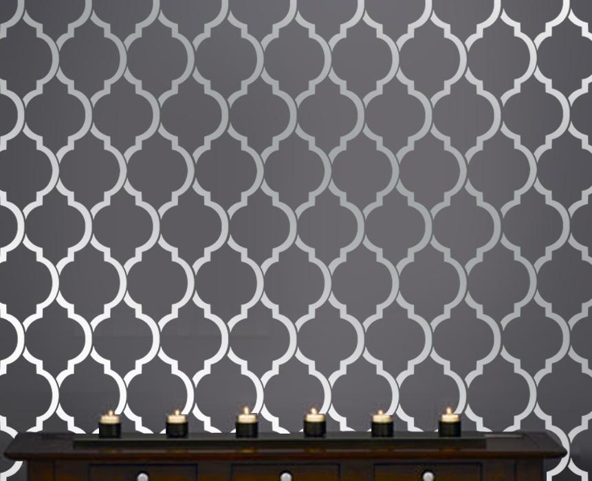 moroccan wall inspired modern designer pattern stencil for walls 861x700