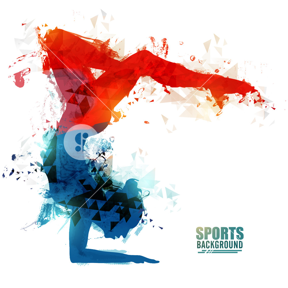Sports background with abstract illustration of a girl doing 1000x1000