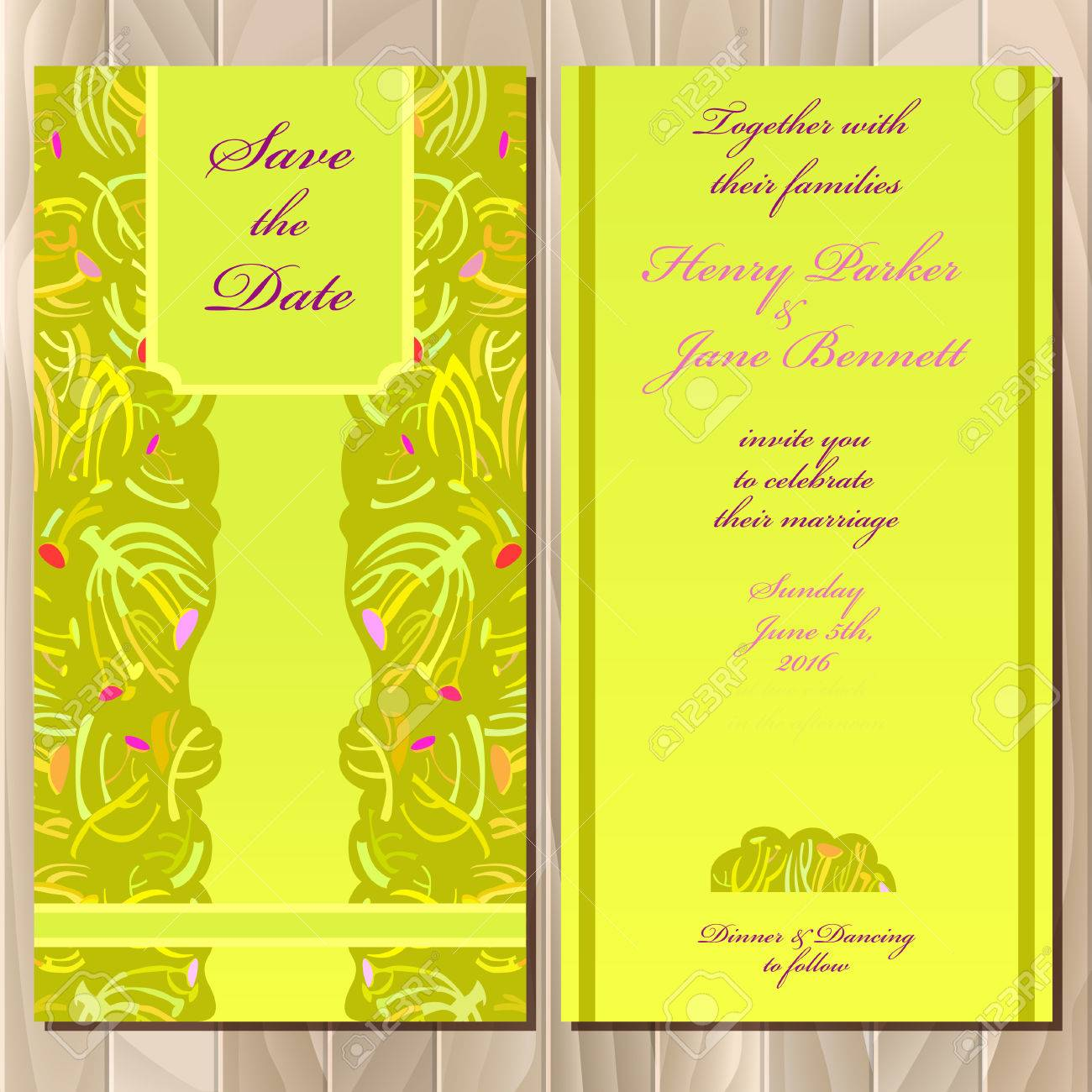 Wedding Invitation Spring Summer Green Yellow Card Design 1300x1300