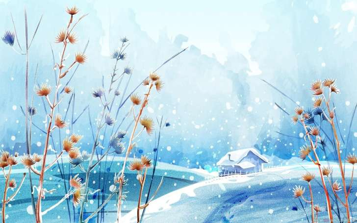 Beautiful Winter Day Figure Paint Hd Wallpaper Wallpaper List 728x455