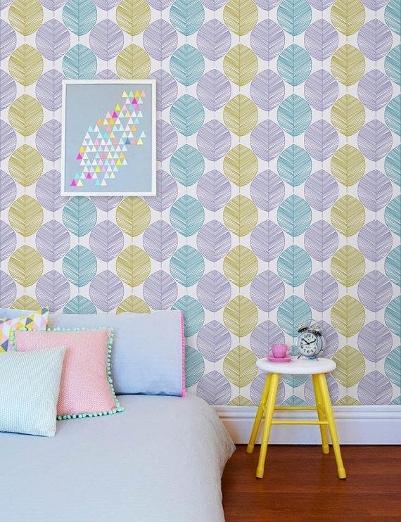 Peel and stick Self adhesive vinyl wallpaper   Leaf wall pattern 570x742