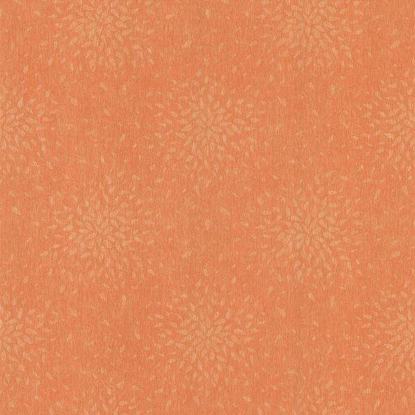 Orange Modern Floral Wallpaper Swatch   Contemporary   Wallpaper 600x600