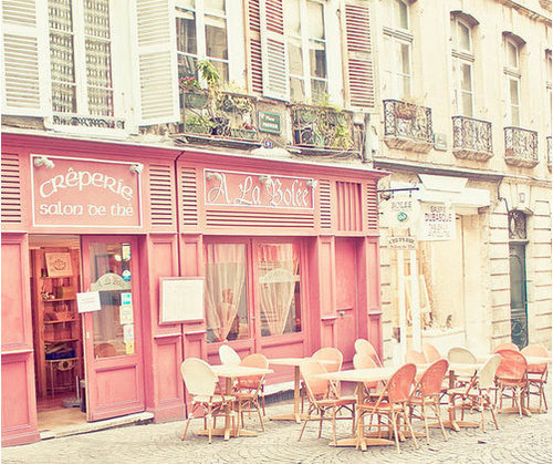 cafe cute france paris pink postcards from far   image 72313 on 500x419