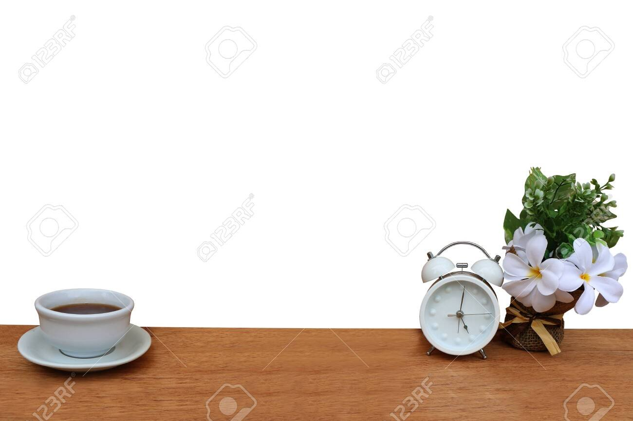 Clock And Cup Of Tea isolated White Background And Saved Clipping 1300x866