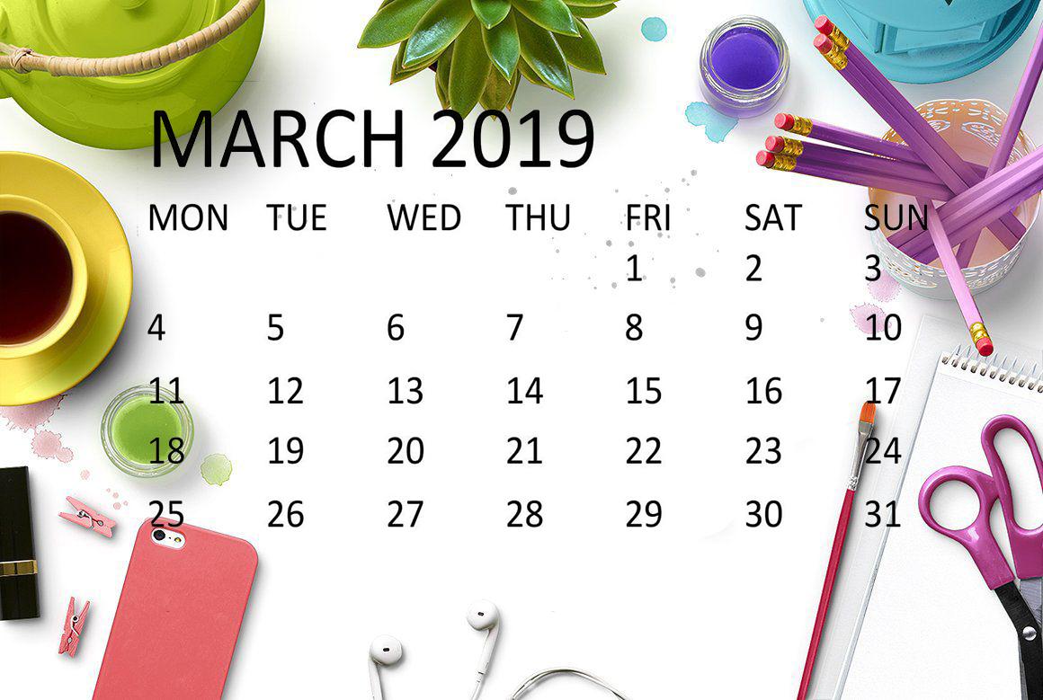 Cute March 2019 Calendar Floral Wallpaper Desk Images Download 1160x779