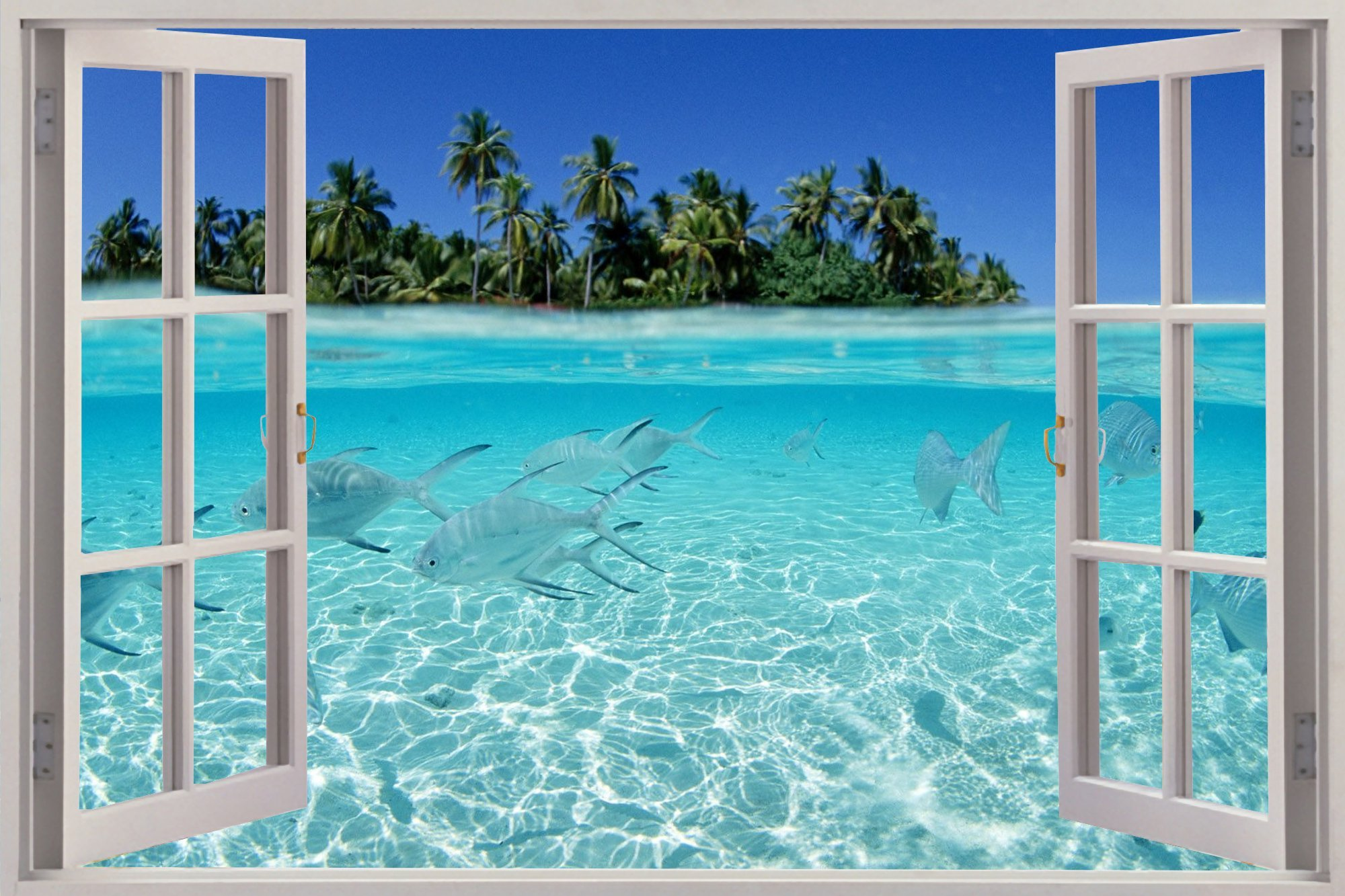 Garden Wall Murals Ideas Beach Window Wallpaper Wallpapersafari