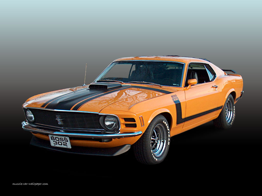 1970 ford mustang boss 302 orange fastback wallpaper left front