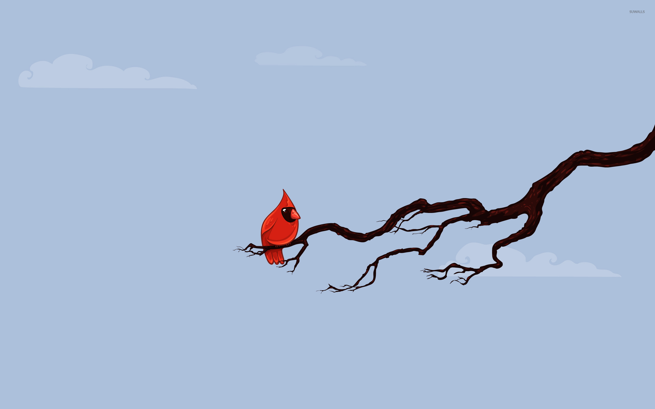 Red bird on a branch wallpaper   Vector wallpapers   17532 2560x1600