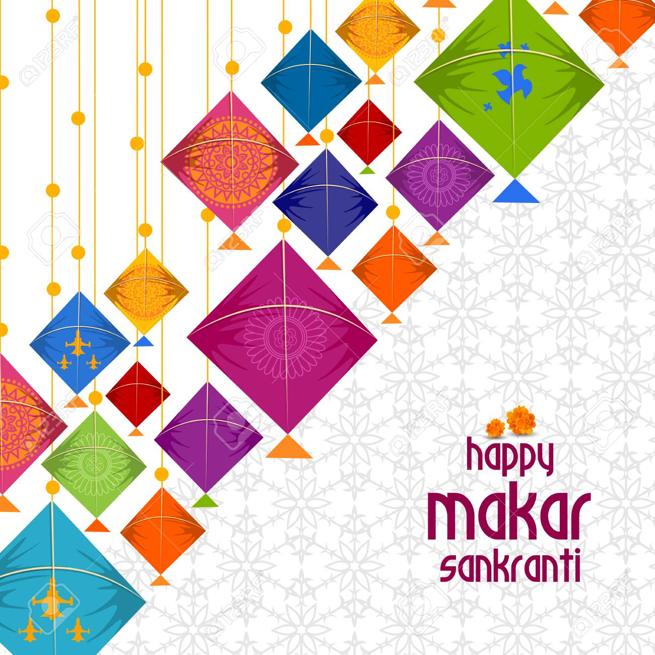 Happy Makar Sankranti Background With Colorful Kites Royalty 1300x1300