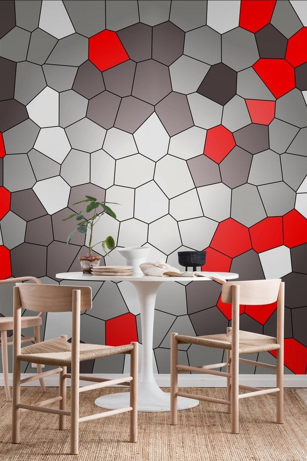 Red grey mosaic pattern Wall mural With images Wall patterns 600x900