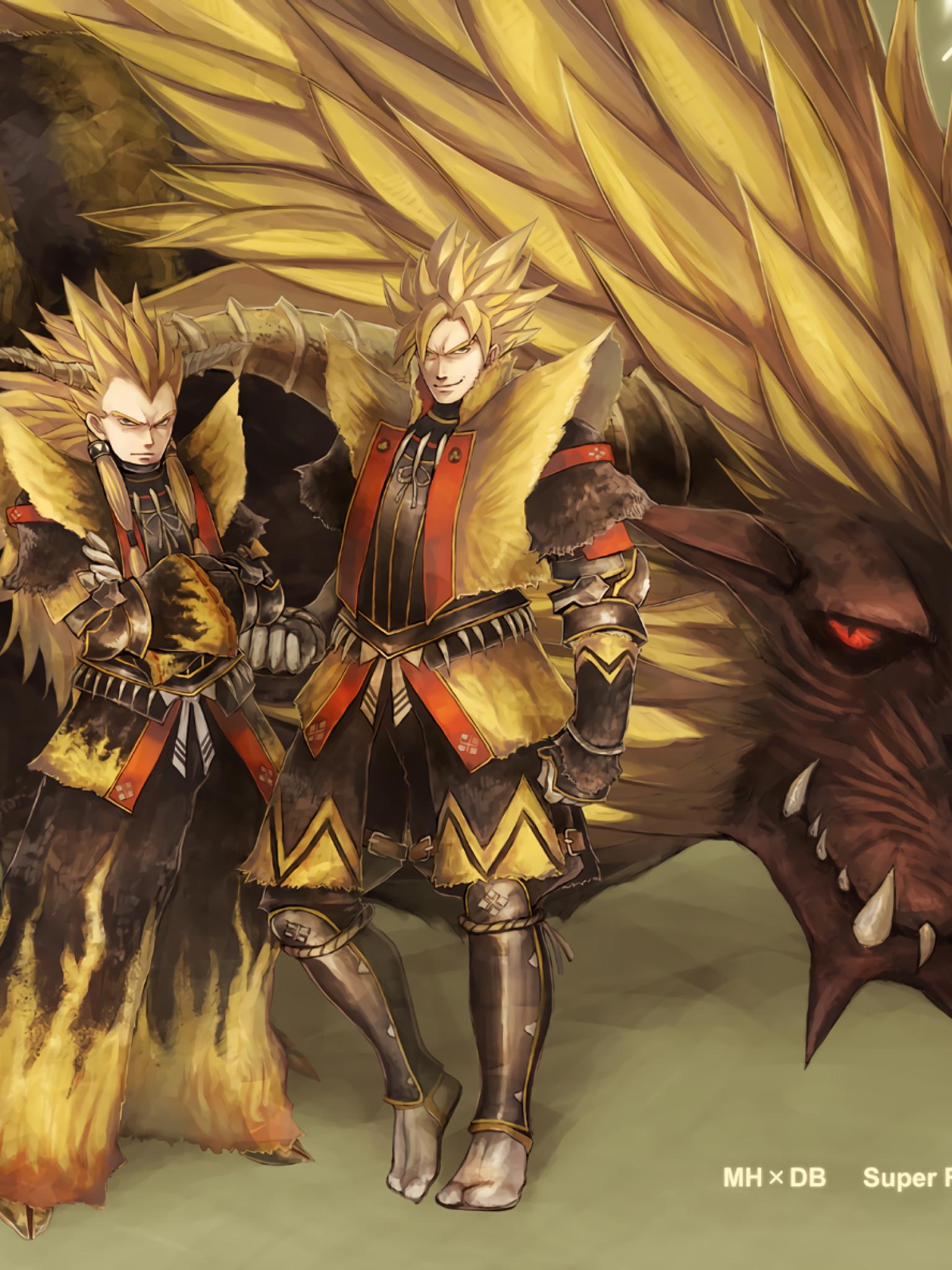 Download 1536x2048 Dragon Ball Z Goku Vegata Monster Hunter 1536x2048