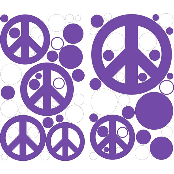 Purple Peace Signs Peel and Stick Decals   Wall Sticker Outlet 576x576
