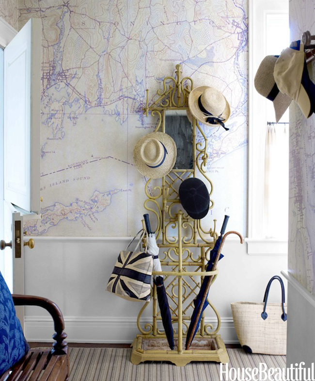 Tom Scheerer Foyer Map Wallpaper via DiCorcia Interior Design 650x785