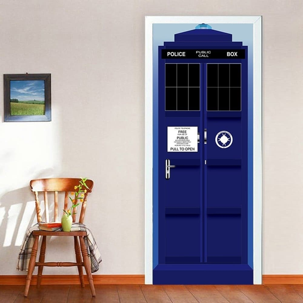 Shop 3D Police Box Door Wall Mural Wallpaper Stickers Removable 1000x1000