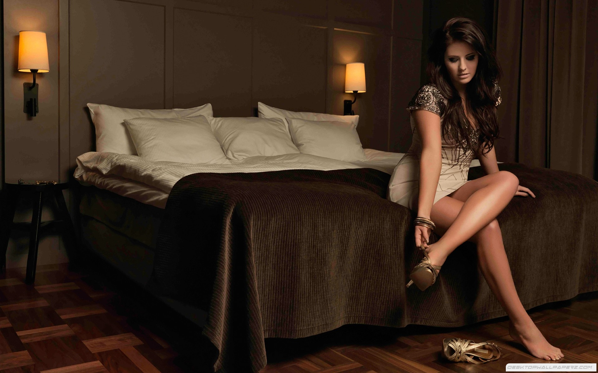 Brunettes Girl Legs Long Hair Shoes Pillows Sitting In Hotel Room Beds 1920x1200