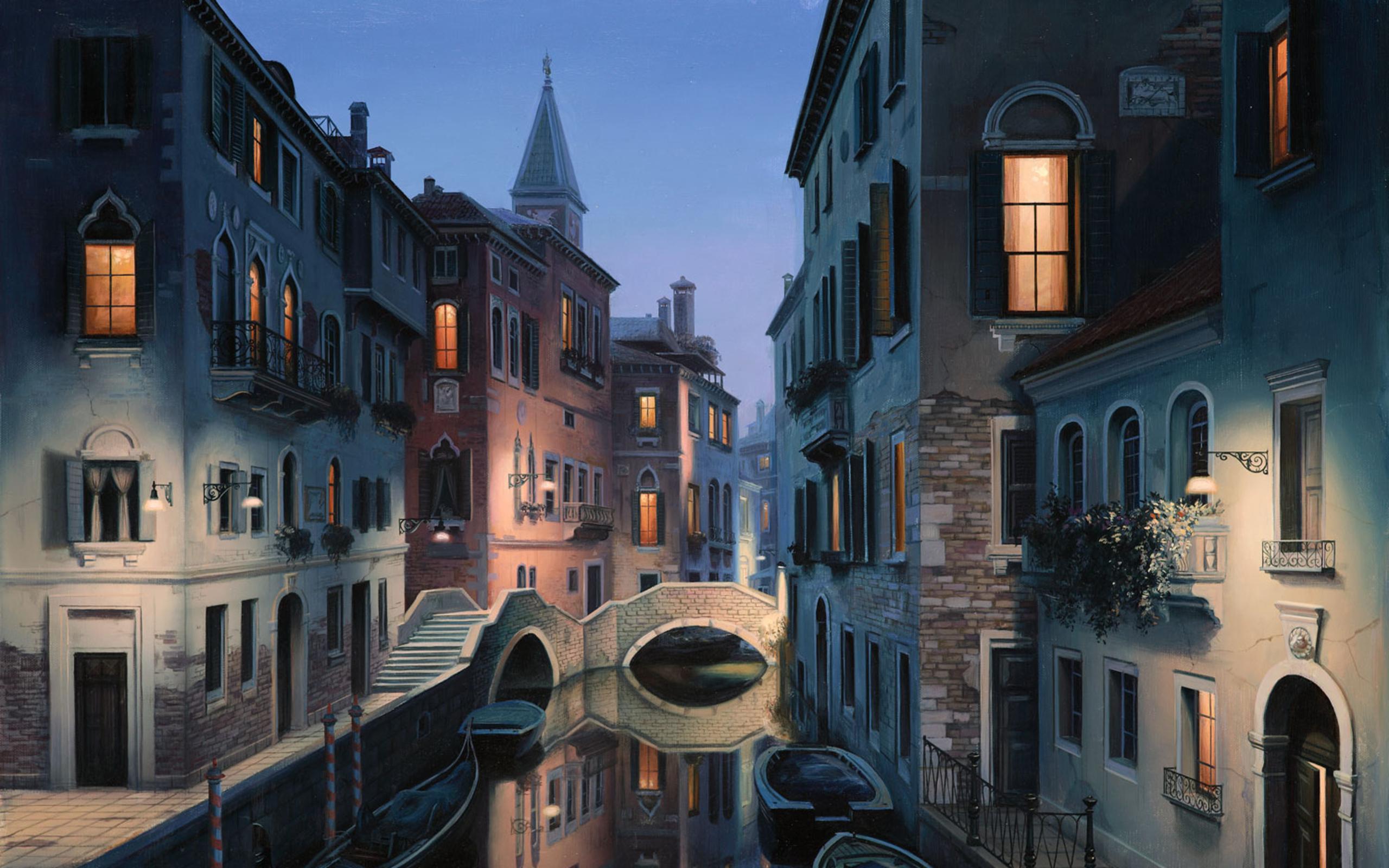 painting lushpin city Venice Italy canal gondola wallpaper background 2560x1600