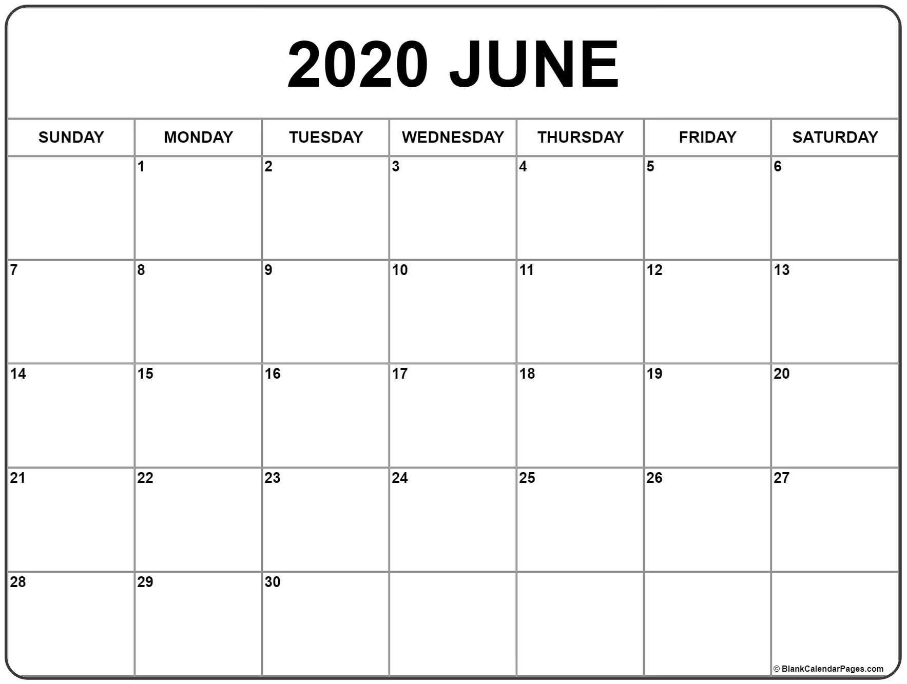 Printable June 2020 Calendar Blank Template PDF Word Excel 1767x1333