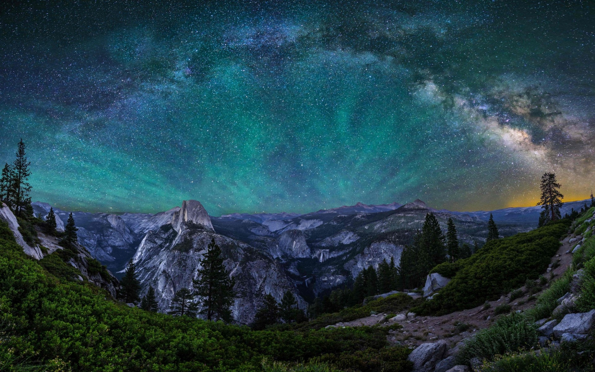 Wallpaper USA California Yosemite National Park mountains night 1920x1200