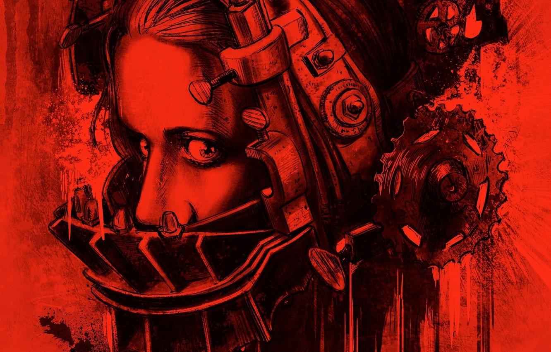 Wallpaper metal girl blood woman eyes gear face pain hair 1332x850
