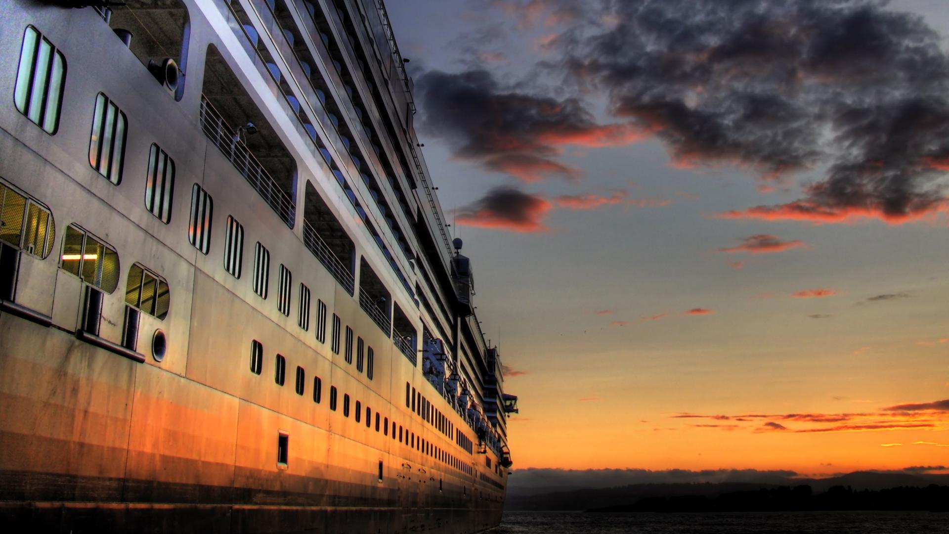 Cruise Ship Cruise Schiff Himmel Wolke Sonnenuntergang Wallpaper 1920x1080