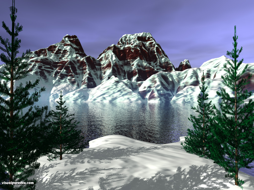 trees conifers serene peaks thaw winter mountains 3d wallpaper 1024x768
