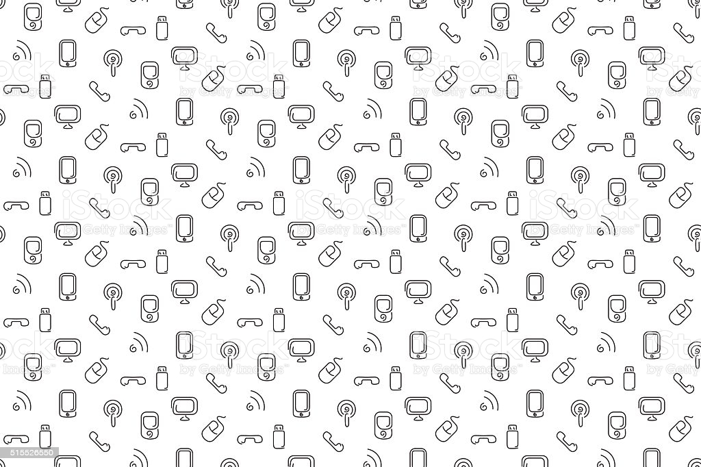 Electronics And Mobile Seamless Background Stock Illustration 1024x682