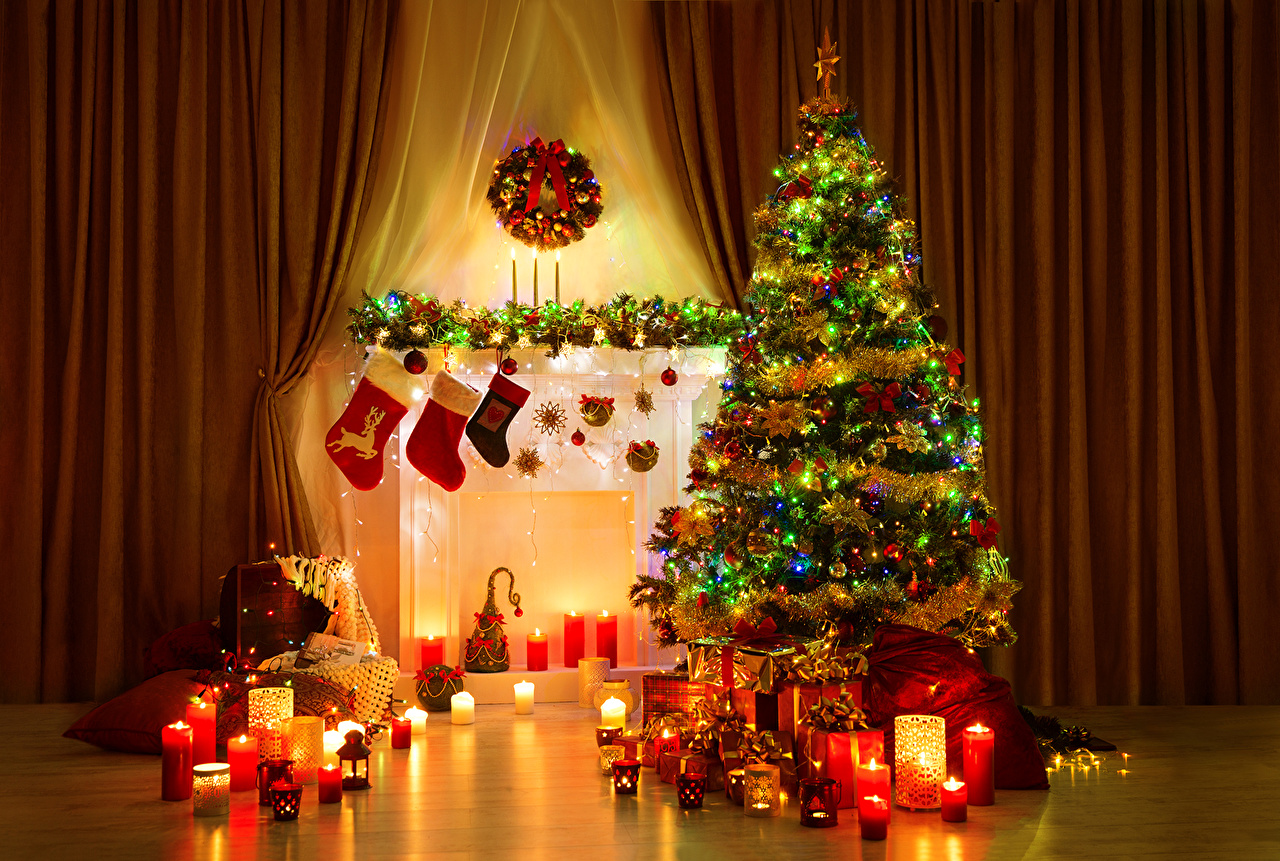 Wallpaper New year New Year tree Gifts Fireplace Candles Fairy 1280x861