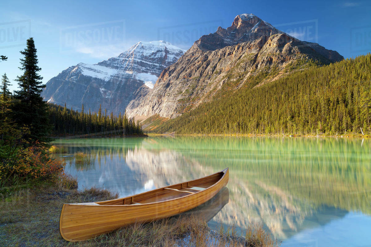 Canoe at Cavell Lake with Mount Edith Cavell in the Background 1200x800
