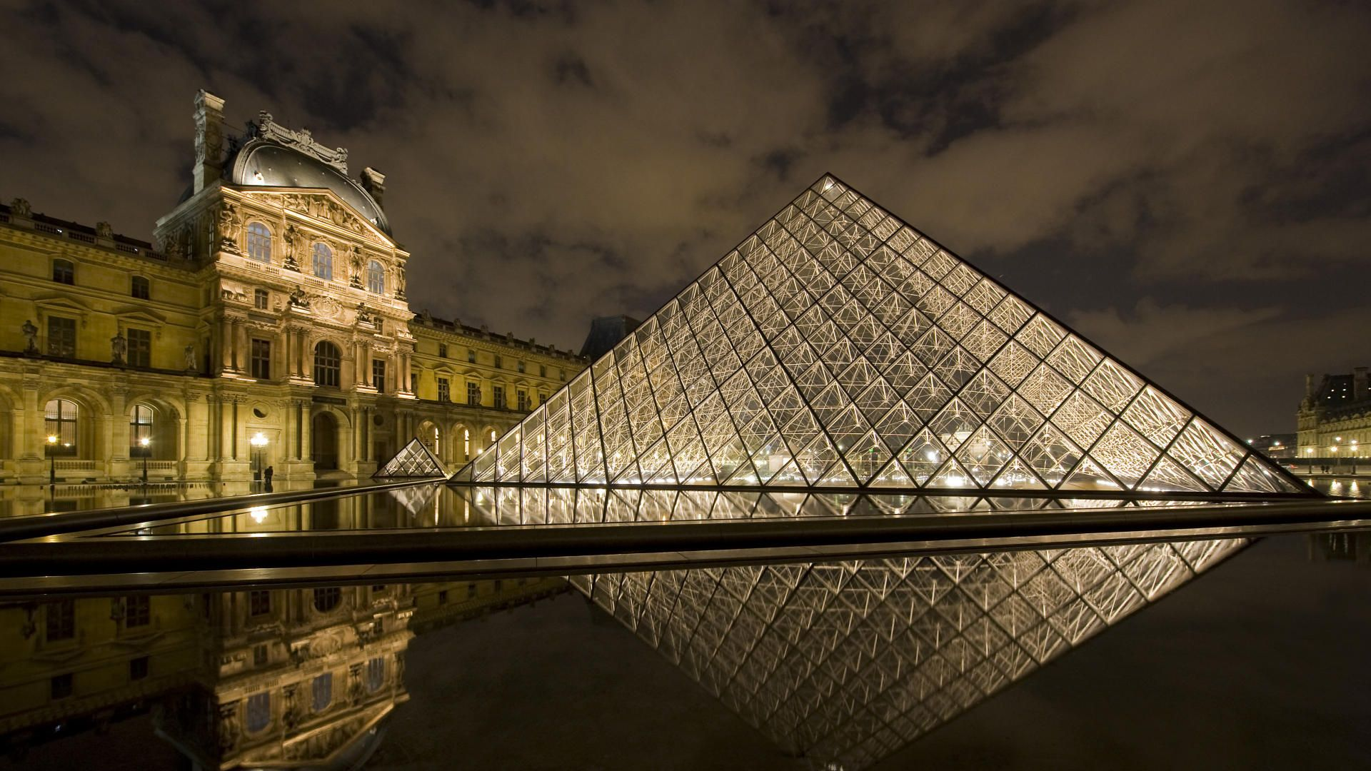Buildings City Louvre Pyramid At Night Paris France picture 1920x1080