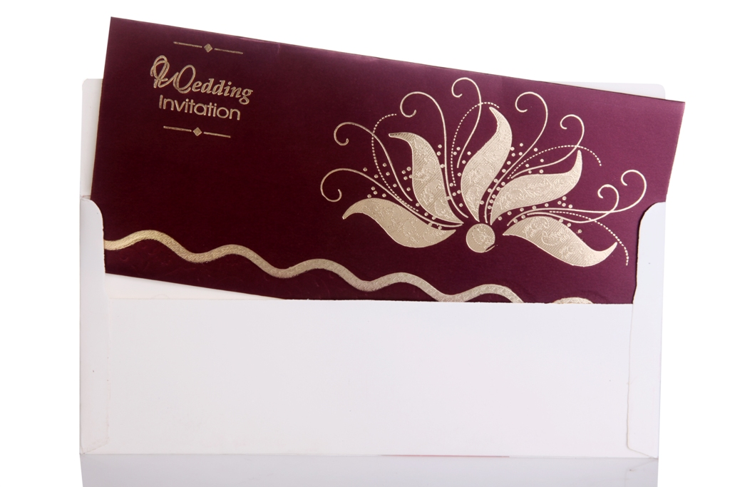 Wedding Invitation with Wine Color Background 1024x683