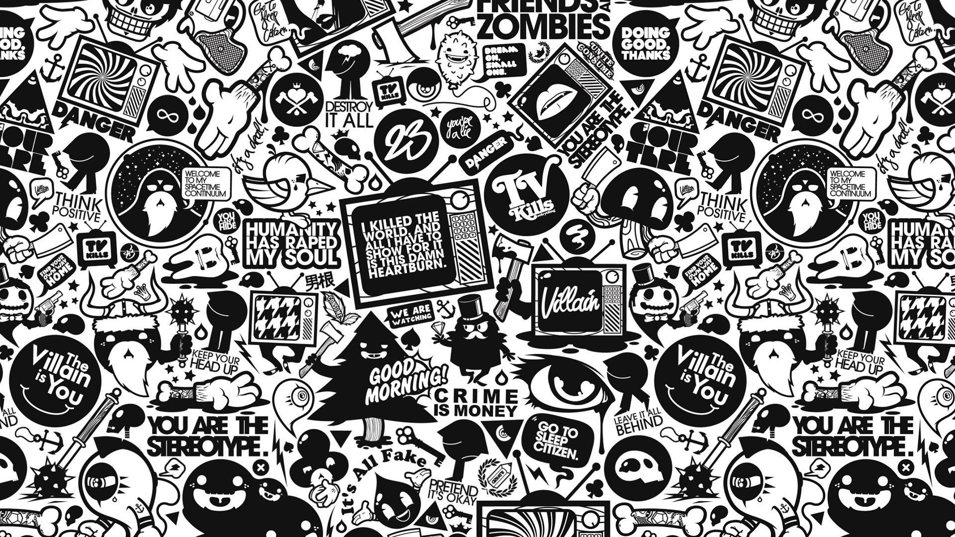 black and white collage wallpaper 925042