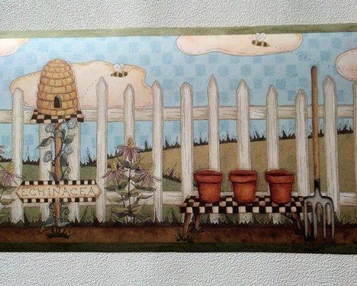 Country Gardening Beehive Wallpaper Border   ALB3747 500x406
