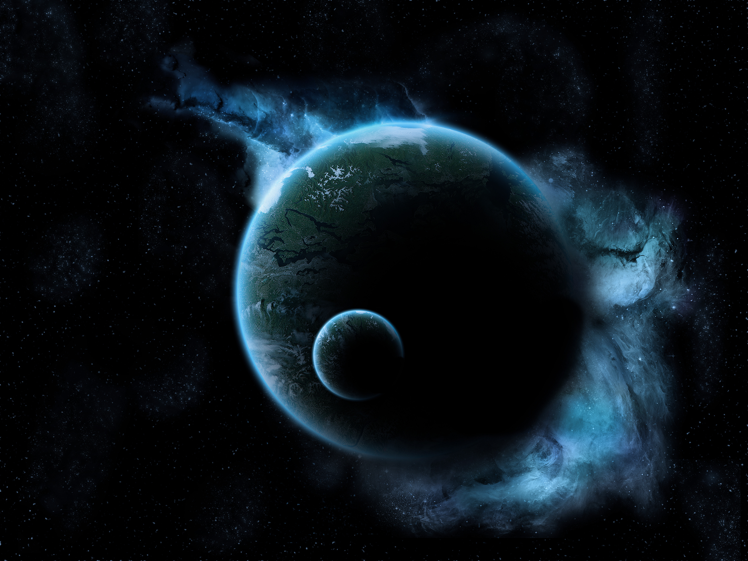 Space space planet earth moon light glow black dark star 2400x1800