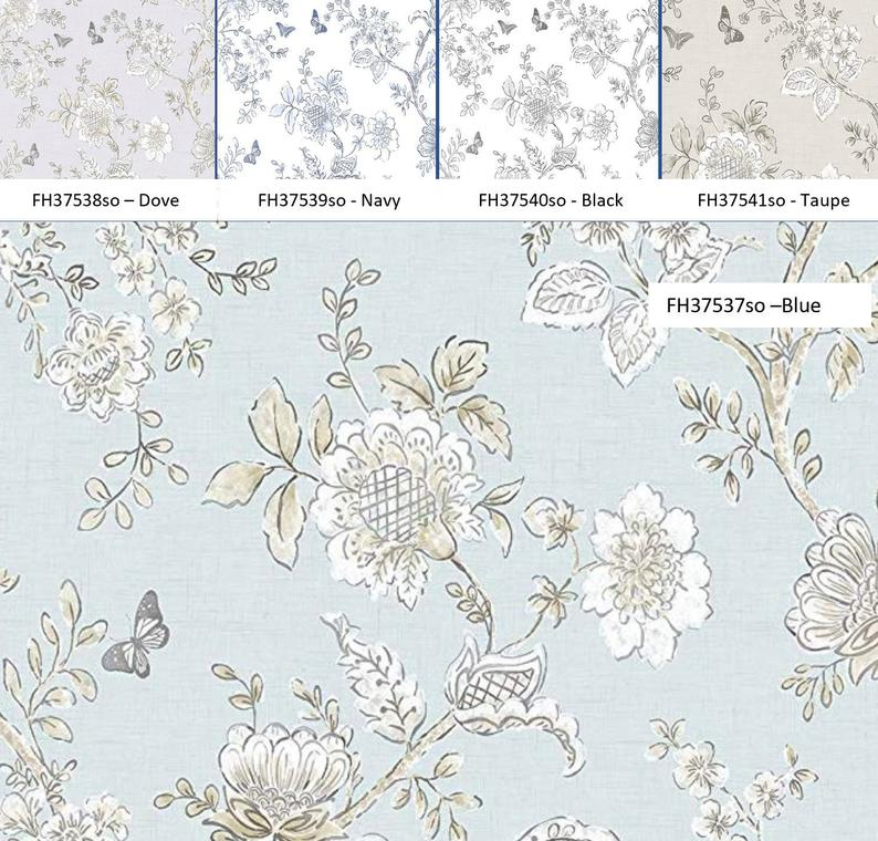 Modern Farmhouse Floral Wallpaper Shabby Chic Kitchen Toile Etsy 794x760