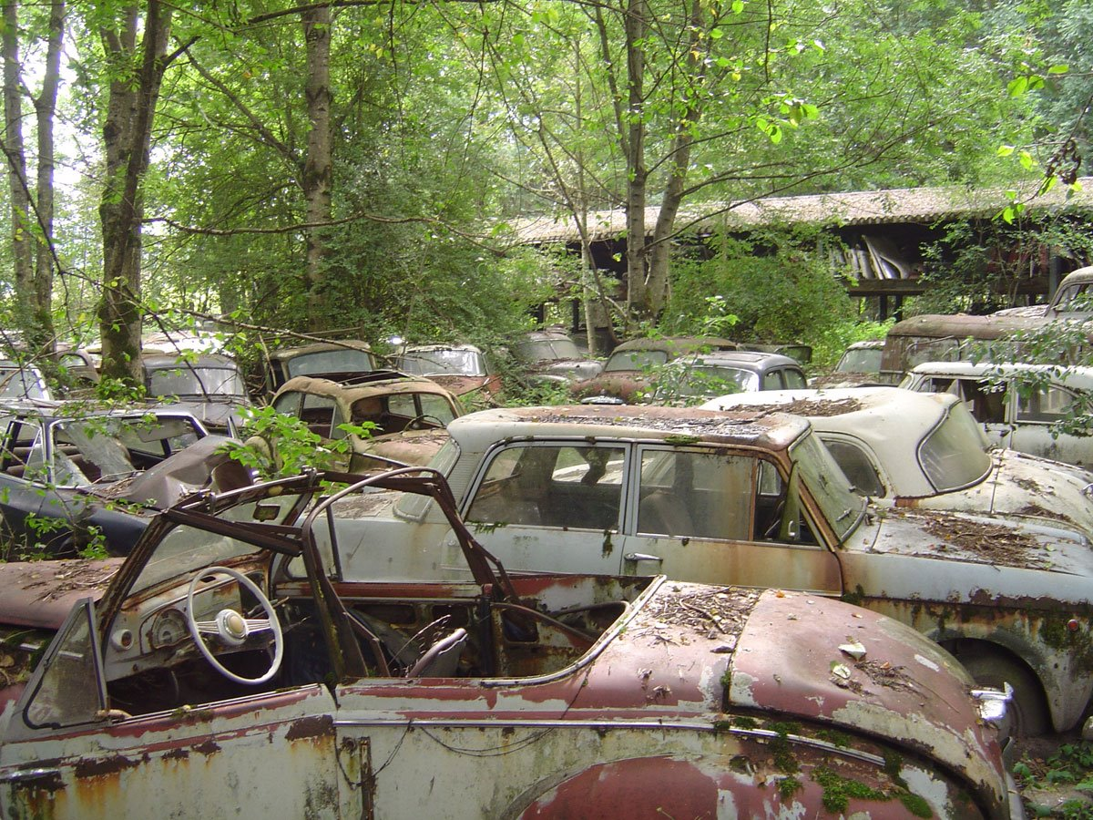 abandoned old rusty car