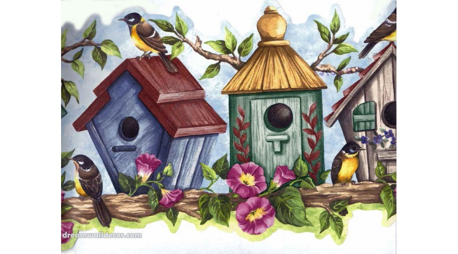 Home Blue Bird House Wallpaper Border 900x500