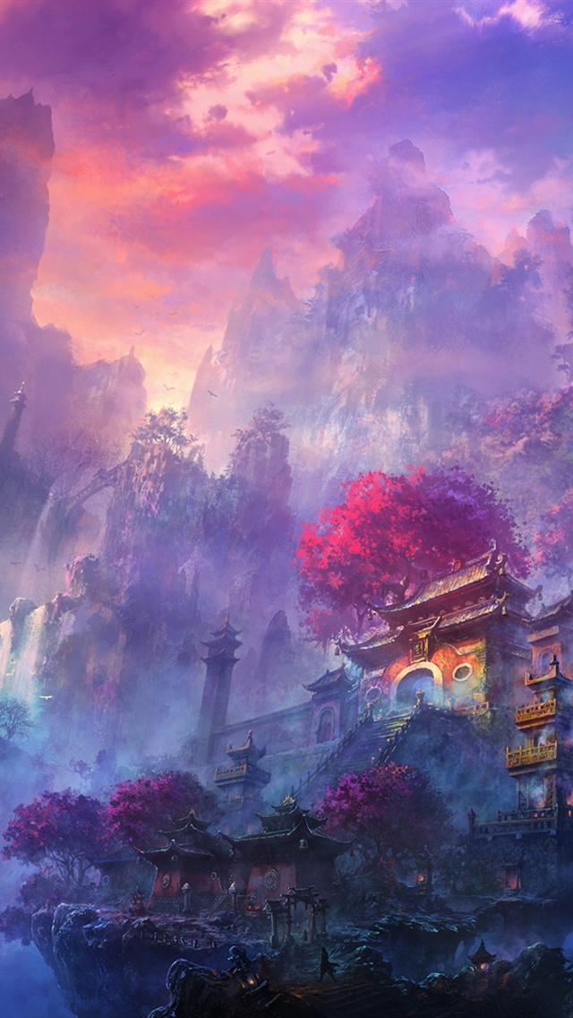 Exquisite watercolors mist mountain temple iPhone 5 wallpaper iPhone 640x1136